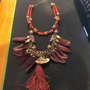 Feathered colorful tribal necklace
